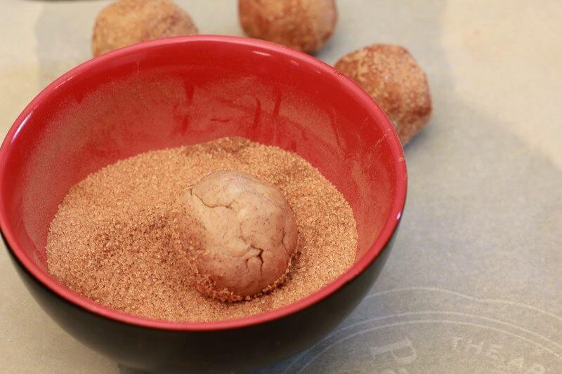roll the dough in cinnamon mix