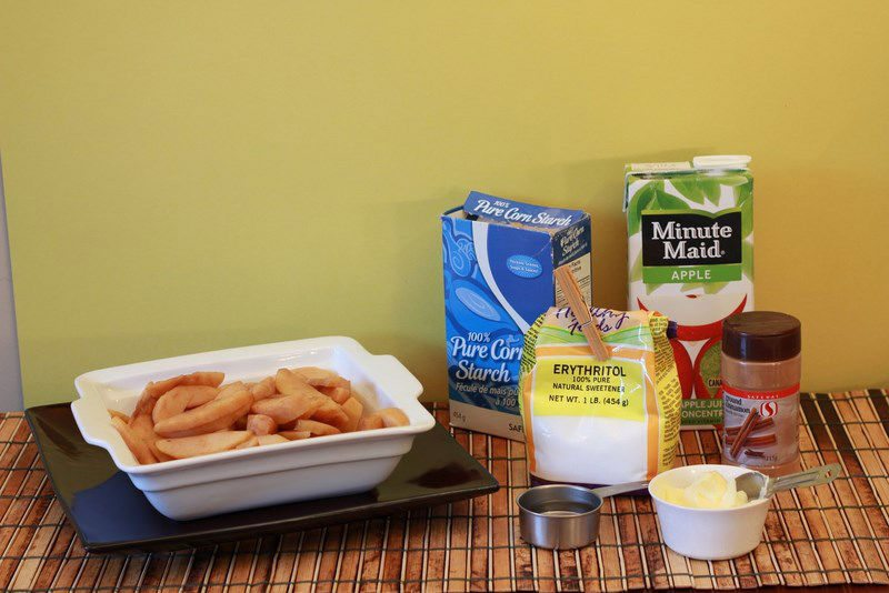 all the ingredients for my sugar free apple pie