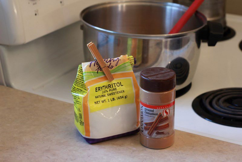 pour erythritol and cinnamon into the pot