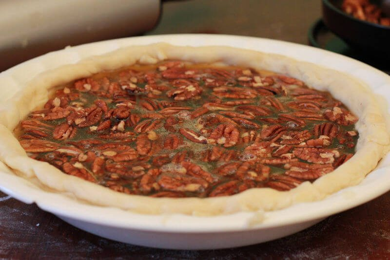 pour liquid mixture into pie crust