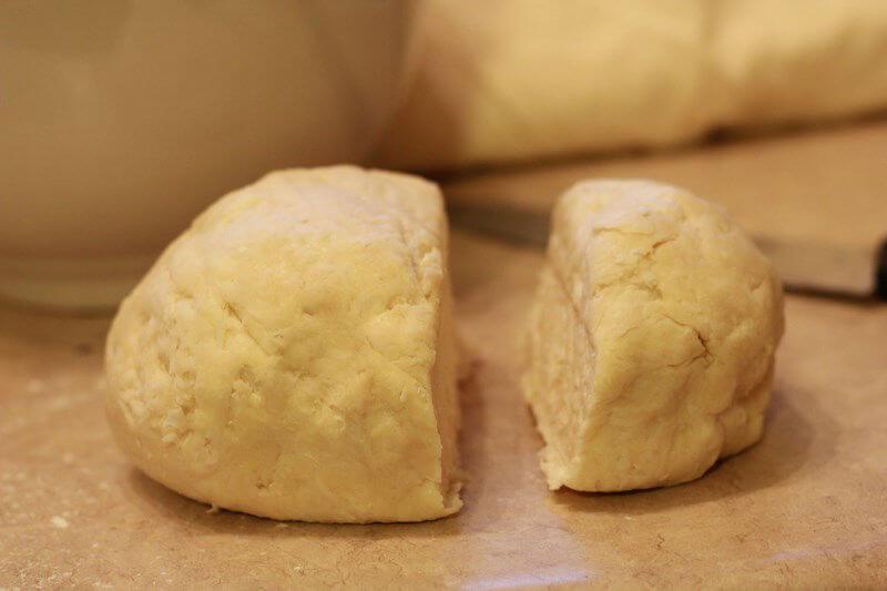 cut the dough into 2 pieces