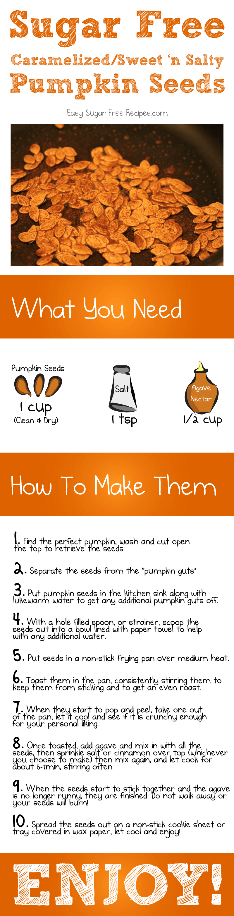 A cartoon comic for sugar free toasted pumpkin seeds with directions and ingredients.