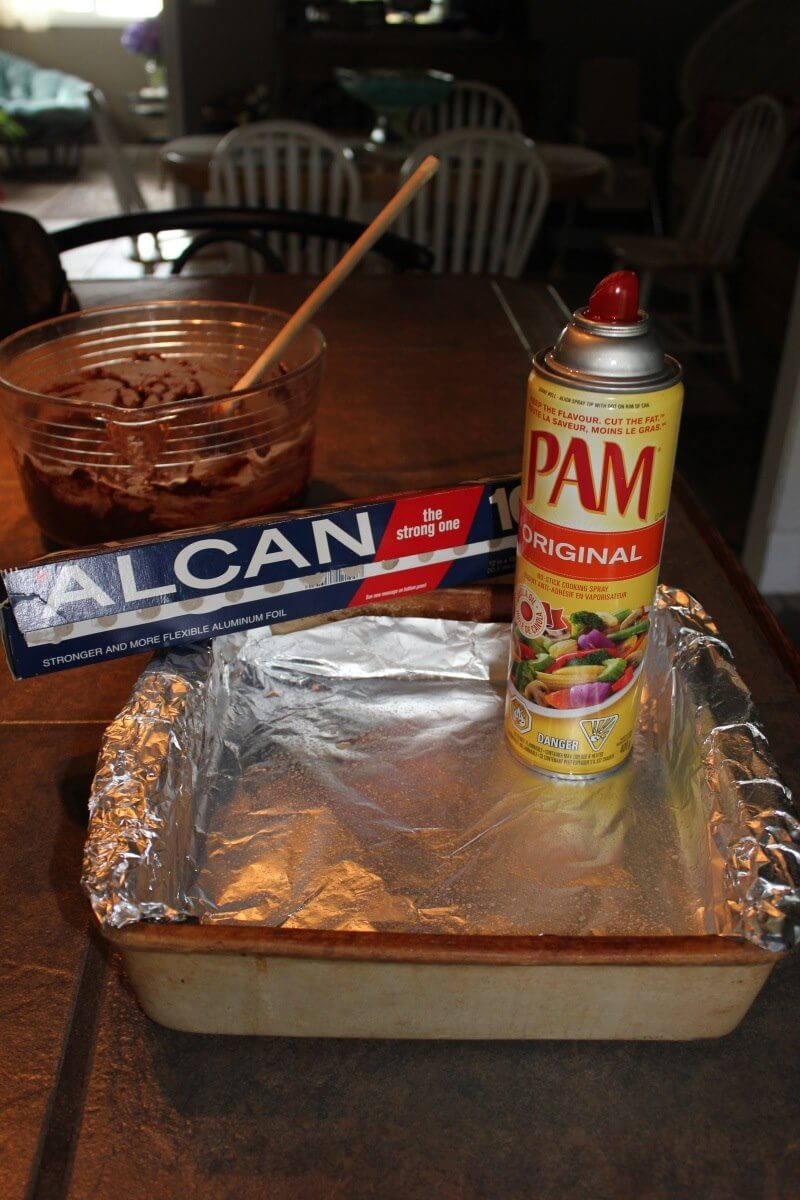 line the pan with foil and spray with pam