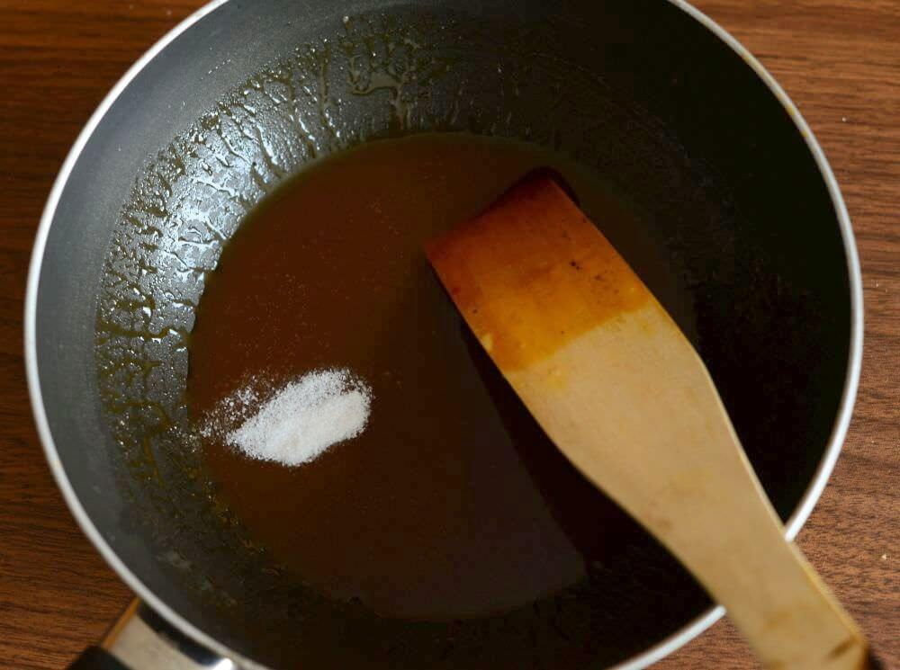 turn off the heat and add salt to the caramel